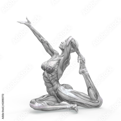 muscle woman doing a pigeon pose in white background Fototapet