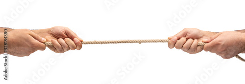 Hands pulling rope isolated on white background Wallpaper Mural