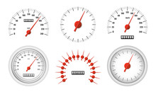 Realistic Speedometer Pack Isolated On White Background. Sport Car Odometer With Motor Miles Measuring Scale. Racing Speed Counter. Engine Power Concept Template. Vector Illustration