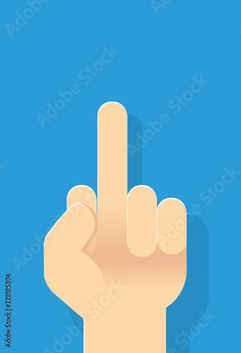 Grafik Geste Hand mit erhobenen Mittelfinger Tablou Canvas
