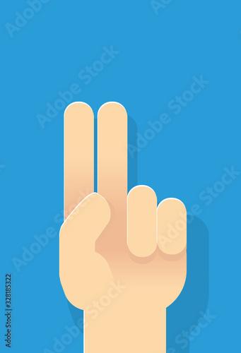Grafik Geste Hand Schwur mit erhobenen Zeigefinger und Mittelfinger Fototapet