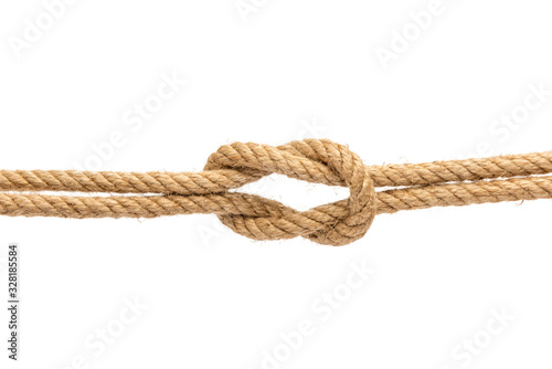 Cuadros en Lienzo Knot of rope isolated on white background