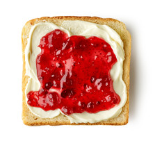 Toasted Bread With Cream Cheese And Jam