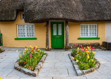 Colourful Flowerbeds Outside Old Traditional Irish Cottage In Rural Ireland