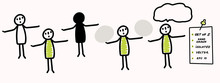 Hand Drawn Stick Figure Arms Wide Open Pose. Concept Vote, Decision, Weighing Up Choice. Simple Vector Stickman Line Art Icon. Symbol Sign Illustration. Isolated Set Of 5 In Simple Crayon Doodle Color