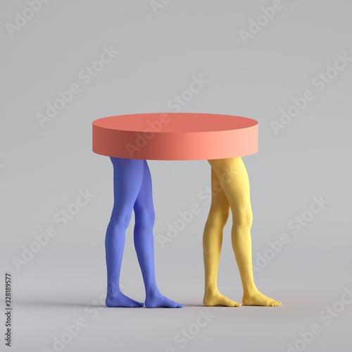 3d render, abstract minimal surreal fashion concept, funny contemporary art sculpture Fototapeta