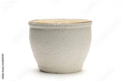 Ceramic bowl for fruits on a white background Tablou Canvas