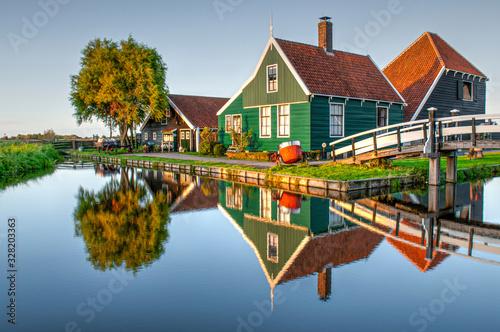 Traditional dutch wooden house in Zaanse Schans village #328203363
