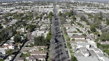 Aerial Drone View Of Suburb Residential Houses, Van Nuys, California