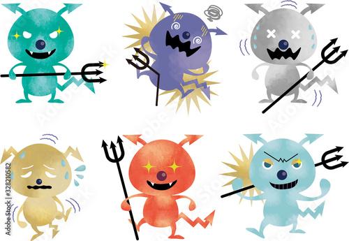 Fotografie, Obraz ウィルス:ばい菌 菌 細菌 感染 感染症 セット 水彩 風邪 病気 隔離 菌 除菌 ウイルス感染