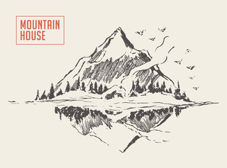 Beautiful cozy house lake mountain vector sketch