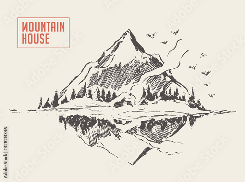 Beautiful cozy house lake mountain vector sketch Wallpaper Mural