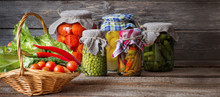 Canned Vegetables In Jars On W...