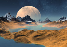 3D Rendered Fantasy Alien Land...