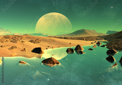 Obraz 3D Rendered Fantasy Alien Landscape - 3D Illustration - fototapety do salonu