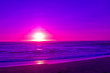 canvas print picture - violet sunset over beach
