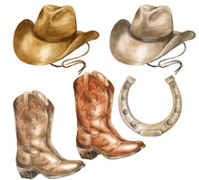 Watercolor Illustration Of A Cowboy Hat And Leather Boots.