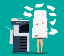 Businesswoman In Pile Of Papers. Office Multifunction Machine. Bureaucracy, Paperwork, Overwork, Office. Printer Copy Scanner Device. Proffesional Printing Station. Vector Illustration Flat Style