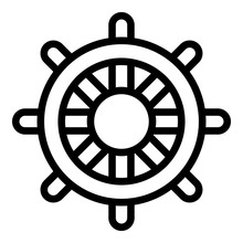 Ship Steering Wheel Icon. Outl...