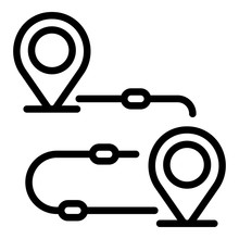 Goal Achievement Route Icon. Outline Goal Achievement Route Vector Icon For Web Design Isolated On White Background