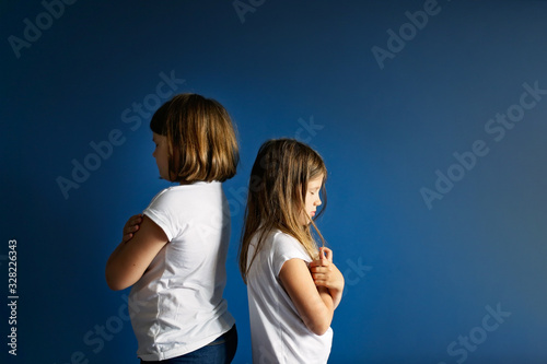 Fotografie, Tablou Children of sister quarrel, take offense sisters