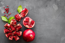 Ripe Pomegranate Fruit Near Le...