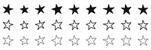 Hand Drawn Star Icons Set, Various Five Pointed Black Outlined Stars, Vector Illustration.