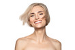 Leinwanddruck Bild - Beautiful smiling woman with smooth skin and short blond hair