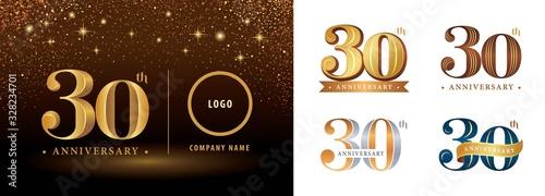 Obraz na plátne Set of 30th Anniversary logotype design, Thrity years Celebrating Anniversary Lo