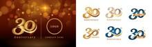 Set Of 30th Anniversary Logotype Design, Thirty Years Celebrating Anniversary Logo