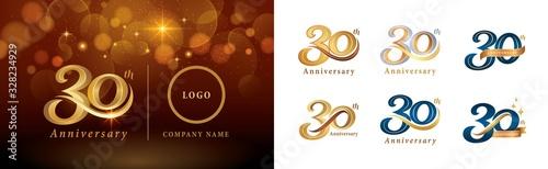 Fotografija Set of 30th Anniversary logotype design, Thirty years Celebrating Anniversary Lo