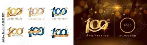 Set of 100th Anniversary logotype design, Hundred years Celebrating Anniversary Wallpaper Mural