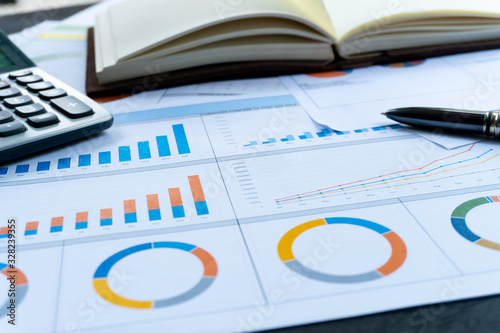 Fototapeta Business report statement for analysis and review market share and budget obraz
