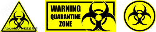 Fotografía set of yellow biohazard signs and quarantine zones on transparent background