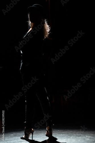 Obraz na plátne Silhouette of a female actress in a hat  on a darck background