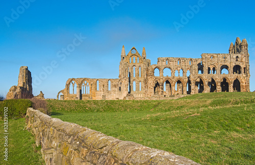 Ancient abbey ruins with gothic architecture in rural landscape Canvas Print