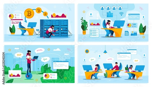 Photo Online Business, IT Startup Personnel, Bitcoin Trading Trendy Flat Vector Concepts Set
