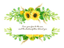 Isolated Watercolor Border Frame With Colorful Vintage Sunflower Rose Cosmos Gerbera Berries Wild Flower Foliage And Leaves For Cards, Wedding