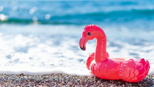 Inflatable Pink Flamingos On B...