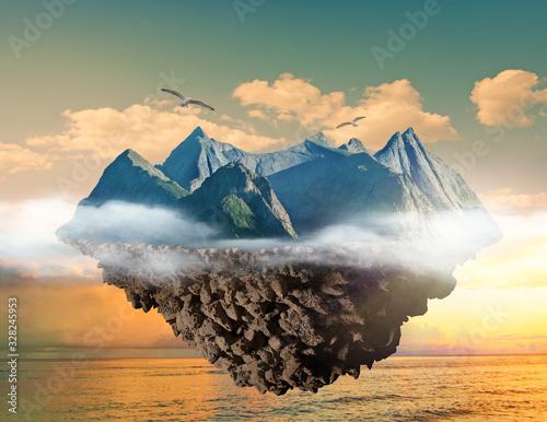 mountain island floating above sea