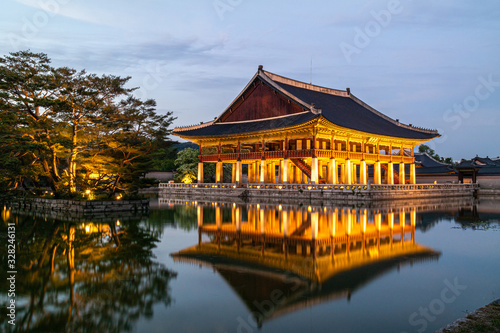 The night view of Gyeonghoeru, located in Gyeongbokgung Palace in Seoul, Korea Canvas Print