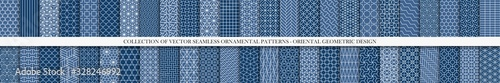 Fototapeta Collection of seamless geometric ornamental vector patterns. Tile oriental backgrounds. Trendy blue design obraz