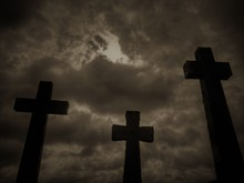 Three Crucifix Tombstones Risi...