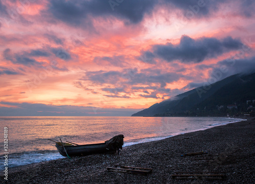 Beautiful sunset on the Black Sea in Abkhazia Wallpaper Mural