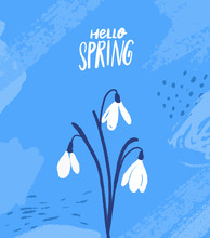 Tree Snowdrops. Hand Drawn First Spring Flowers On Blue Background With Abstract Strokes. Hello Spring Card Vector Design