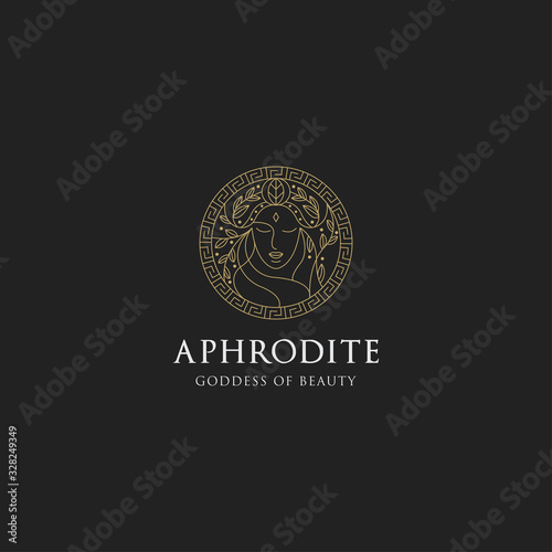 Photo Monoline aphrodite greek women goddes of beauty with decorative circle vector il