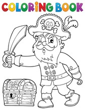 Coloring Book Pirate Holding S...