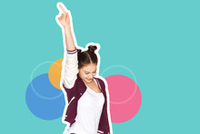 People And Party Concept - Magazine Style Collage Of Happy Smiling Teenage Girl Dancing And Pointing Finger Up Over Colorful Background