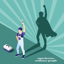 Superheroes People Isometric B...