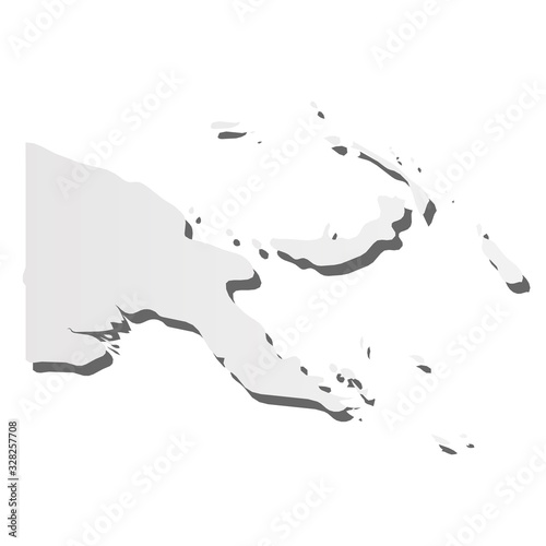 Fototapeta Papua New Guinea - grey 3d-like silhouette map of country area with dropped shadow